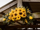 Sunflowers on wedding dock at Civil War Ranch, Joplin area wedding venue